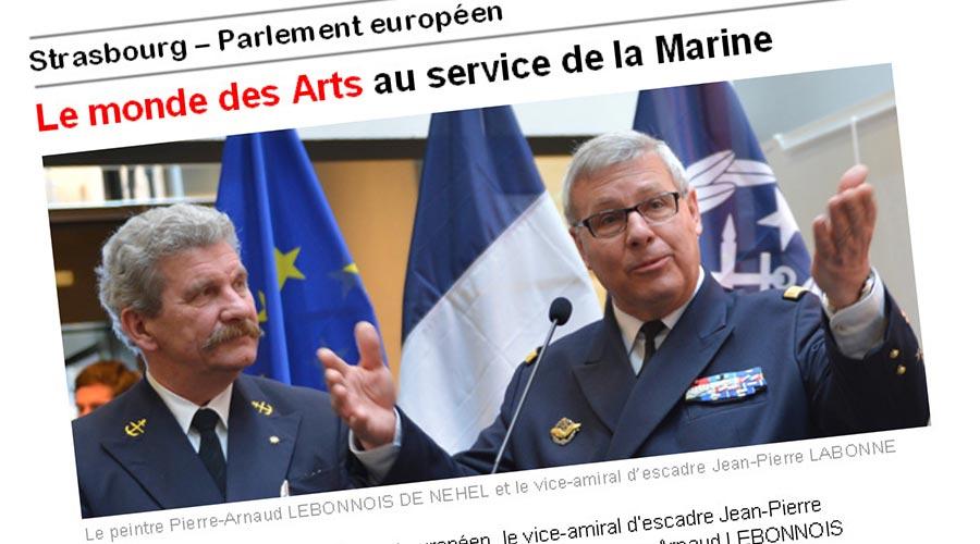 Au Parlement Europeen Jean-Pierre Labonne et Pierre-Arnaud Lebonnois de Nehel © Académie des Arts et Sciences de la Mer