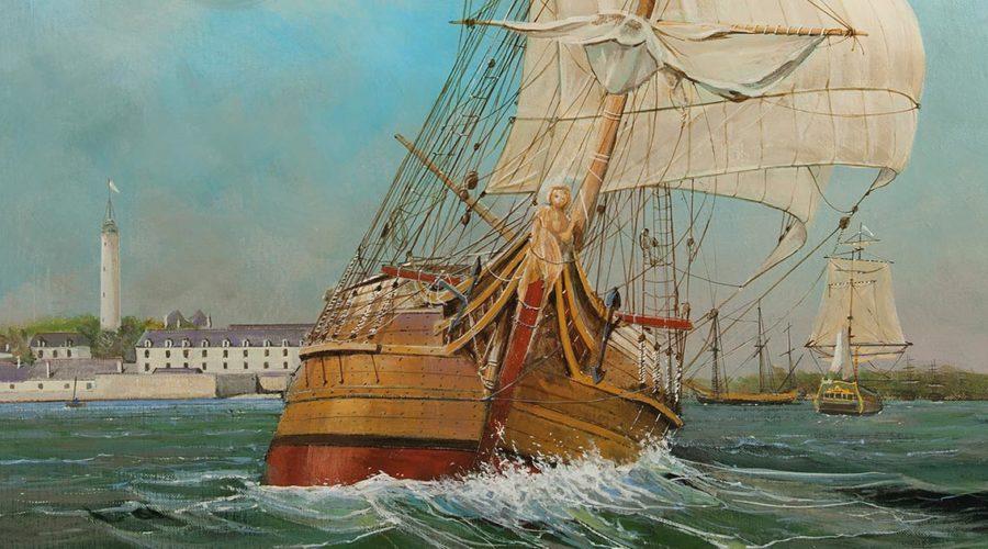 BOSTON Robert La Favorite quittant le port de Lorient mai 1743