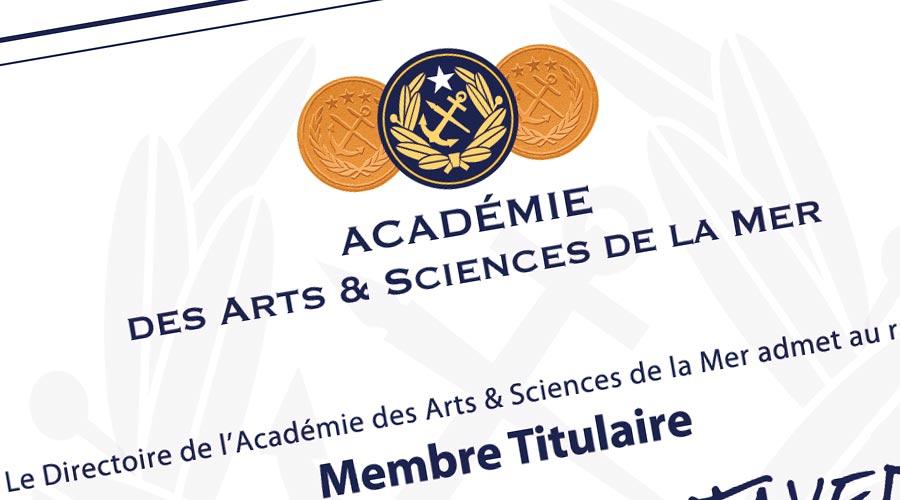 Diplome © Académie des Arts et Sciences de la Mer