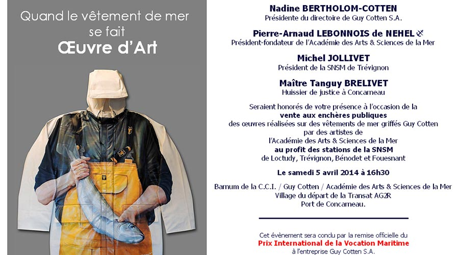 Guy Cotten - invitation © Académie des Arts & Sciences de la Mer
